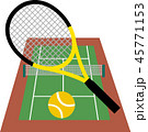 テニス テニスコート ラケットのイラスト 45771153