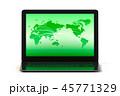 ネットワーク世界とノートパソコンのイラストCG 45771329