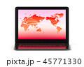 ネットワーク世界とノートパソコンのイラストCG 45771330
