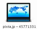 ネットワーク世界とノートパソコンのイラストCG 45771331