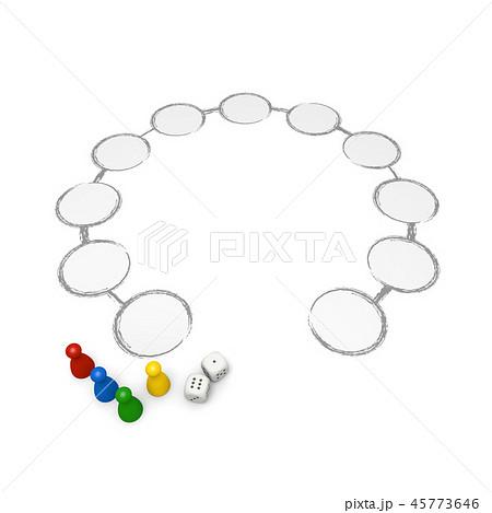 ボードゲーム / 双六 / サイコロ / 駒 / 3D レンダリング 45773646
