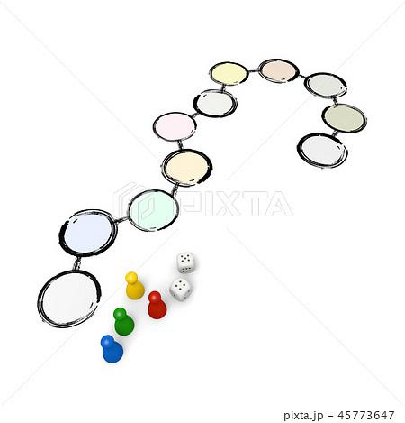 ボードゲーム / 双六 / サイコロ / 駒 / 3D レンダリング 45773647