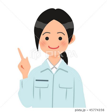 指差しポーズをする作業着姿の女性 45774356