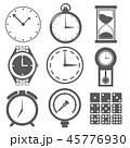 時計 砂時計 目覚まし時計 懐中時計 腕時計 測定器 サイコロ 数字 イラスト アイコン 45776930