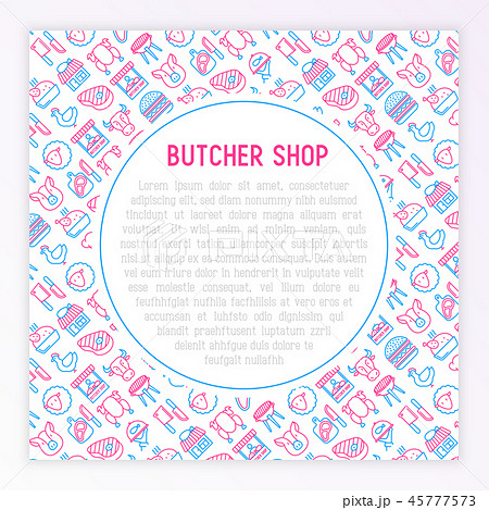 Butcher shop concept with thin line icons 45777573
