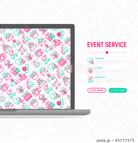 Event services concept with thin line icons 45777575