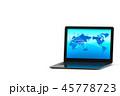 パソコンに映しだされるネットワーク世界のイラストCG 45778723