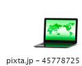 パソコンに映しだされるネットワーク世界のイラストCG 45778725