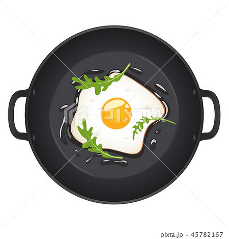 Fried eggs with arugula on frying pan, top view. Isolated on white background. Vector illustration. 45782167