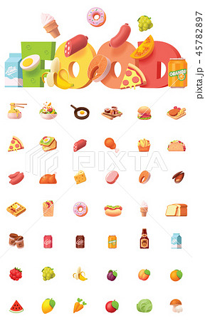 Vector food icon set 45782897