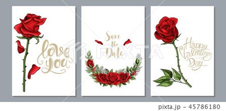 Wedding floral invite, invtation card design. Scarlet red rose flowers set 45786180