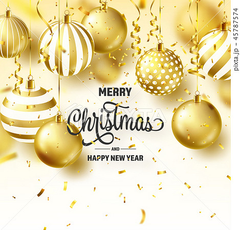 Christmas Background With Tree Balls, Ribbon And Confetti. Golden Ball. New Year. Winter holidays 45787574