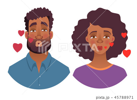 portrait of African man and woman - kiss 45788971