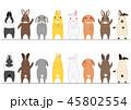 かわいいウサギのボーダーのセット 正面と背面 カラー 45802554