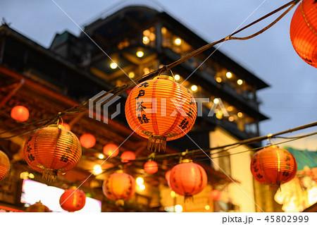 台湾・台北・提灯・雨・光・九份・観光 45802999