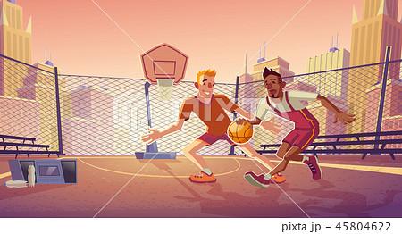 Street basketball on city outdoor court vector 45804622