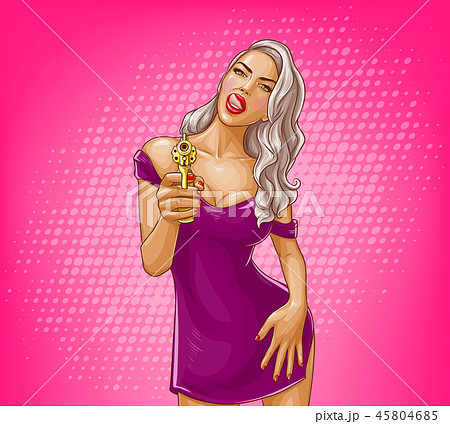 Pop art girl and golden gun illustration 45804685