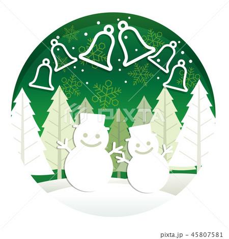 クリスマスの立体レリーフ調イラスト 45807581