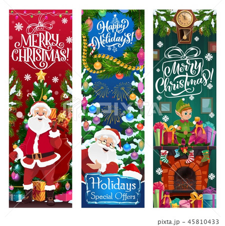 Santa, elf and gifts. Christmas sale vector offer 45810433