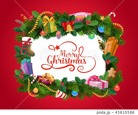 Christmas wreath with Xmas gifts, greeting card 45810586