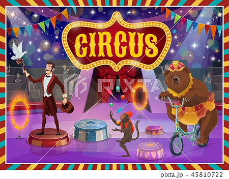 Big top circus show magician, animals performance 45810722
