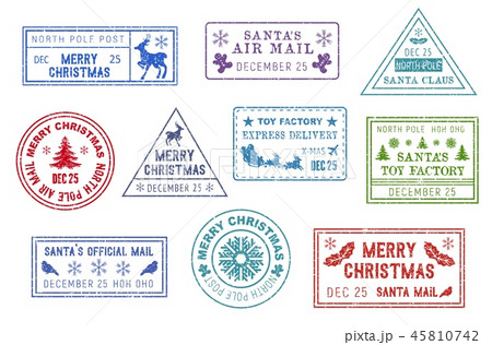 Santa Claus mail, Christmas post stamps 45810742