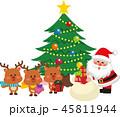 クリスマス クリスマスツリー サンタクロースのイラスト 45811944