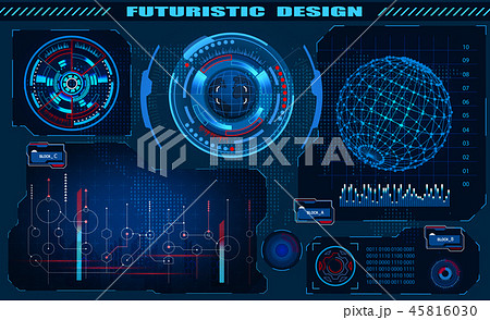 Futuristic graphic interface hud design, infographic elements, hologram of the globe. Theme and 45816030