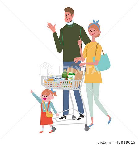 ショッピングカートをおす 夫婦 女性 買い物 45819015