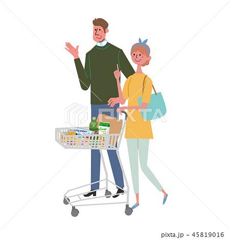 ショッピングカートをおす 女性 家族 45819016