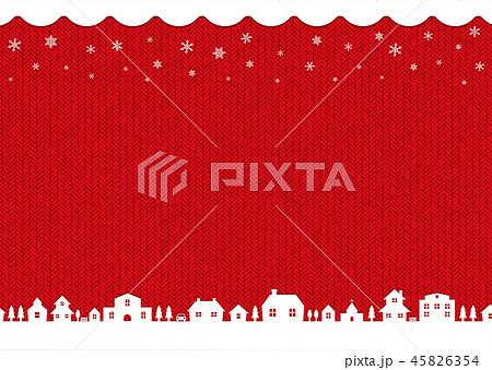冬・クリスマスイメージ背景イラスト(編み物・編み目模様)/ 赤 45826354