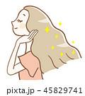 髪 輝く 女性のイラスト 45829741