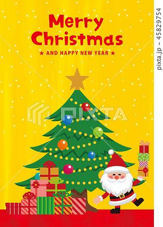 クリスマス素材。クリスマスカード。プレゼントを持ったサンタクロース。ベクター素材 45829754