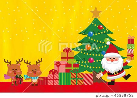 クリスマス素材。クリスマスカード。プレゼントを持ったサンタクロース。ベクター素材 45829755