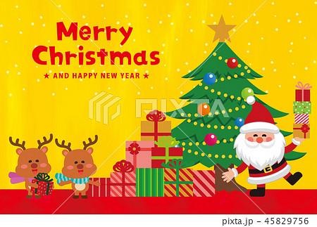 クリスマス素材。クリスマスカード。プレゼントを持ったサンタクロース。ベクター素材 45829756