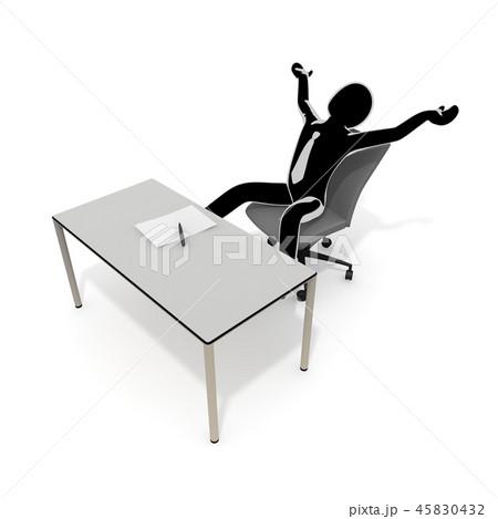やる気なし / 無気力 / ビジネスマン / 3Dイラスト 45830432
