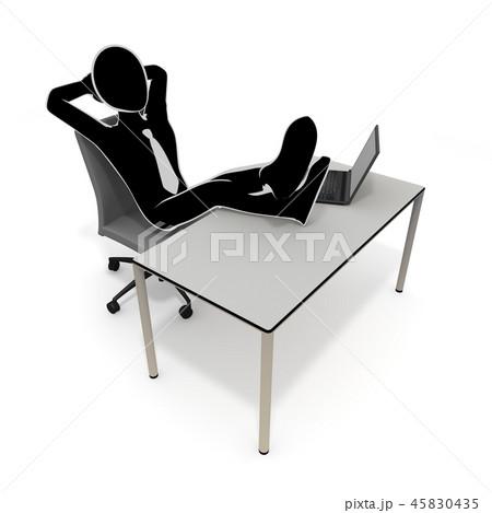 やる気なし / 無気力 / ビジネスマン / 3Dイラスト 45830435