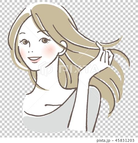 一個女人梳理她的頭髮 45831203