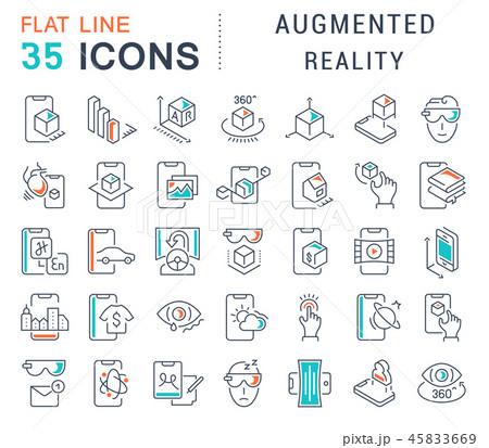 Set Vector Line Icons of Augmented Reality. 45833669