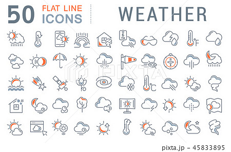 Set Vector Line Icons of Weather. 45833895