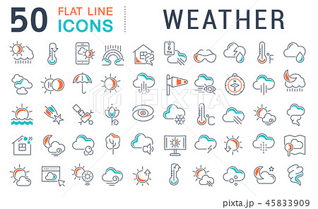 Set Vector Line Icons of Weather. 45833909