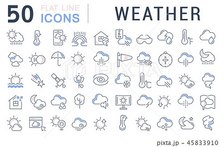 Set Vector Line Icons of Weather. 45833910