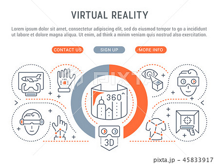 Linear Banner of the Virtual Reality. 45833917