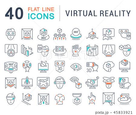 Set Vector Line Icons of Virtual Reality. 45833921