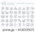 Set Vector Line Icons of Virtual Reality. 45833925