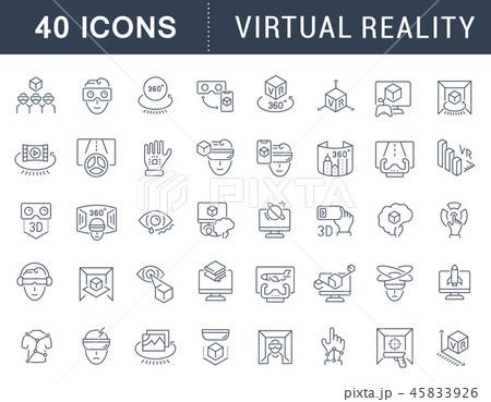 Set Vector Line Icons of Virtual Reality. 45833926