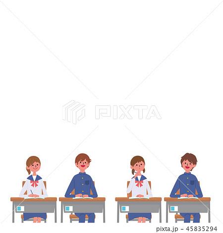 勉強する こども 机に座る 生徒 学生 イラスト 45835294
