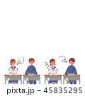 勉強する こども 机に座る 生徒 学生 イラスト 45835295