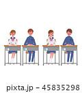 勉強する こども 机に座る 生徒 学生 イラスト 45835298
