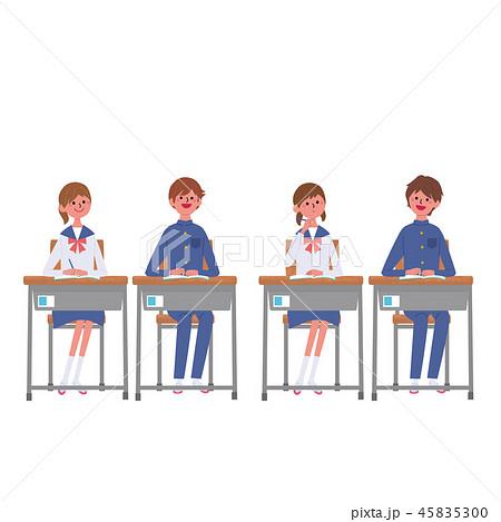 勉強する こども 机に座る 生徒 学生 イラスト 45835300